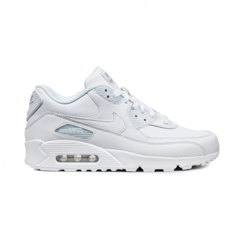 Nike Air Max 90 Leather Men's Low Sneakers 302519-113 White