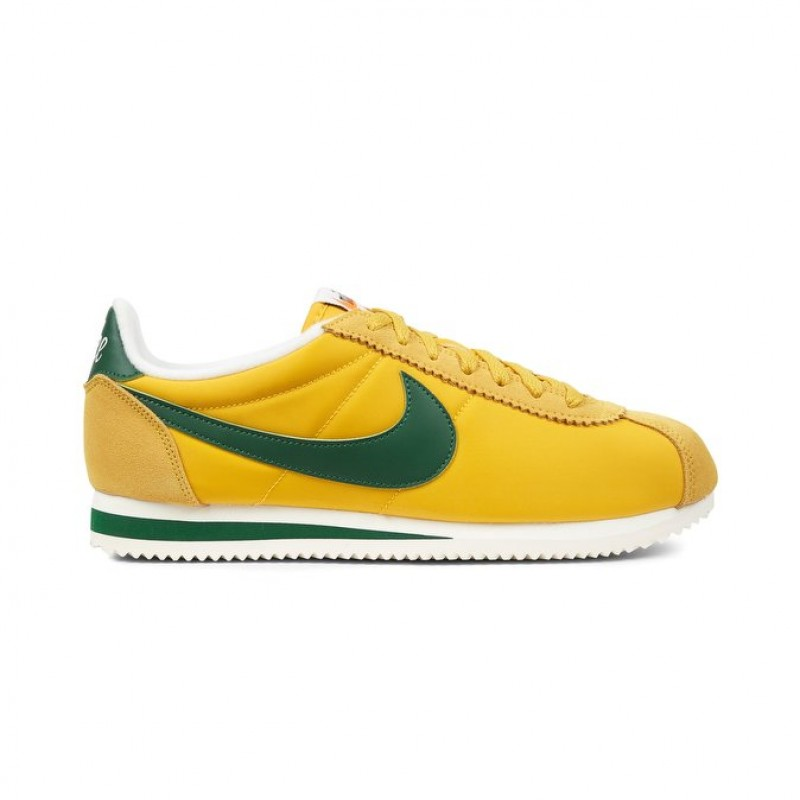 Nike Classic Cortez Nylon Premium Men's Low Sneakers 876873-700 Yellow ,Green