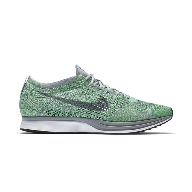 Nike Flyknit Racer Unisex Low Sneakers 526628-103 White ,Grey ,Green