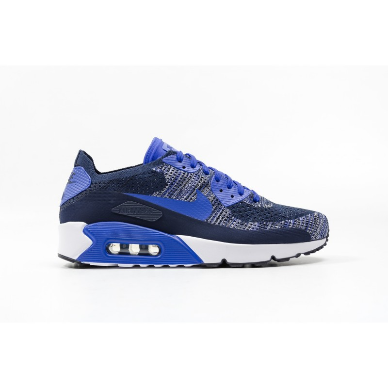 Nike AIR MAX 90 ULTRA 2.0 FLYKNIT 875943-400 Blue ,White ,Black