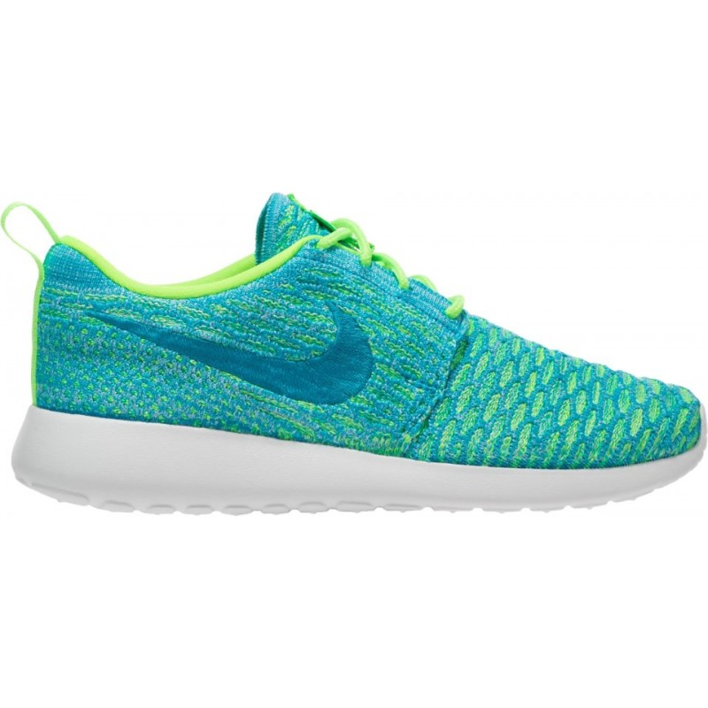 Nike Women's Roshe One Flyknit 704927-304 Green ,White ,Blue