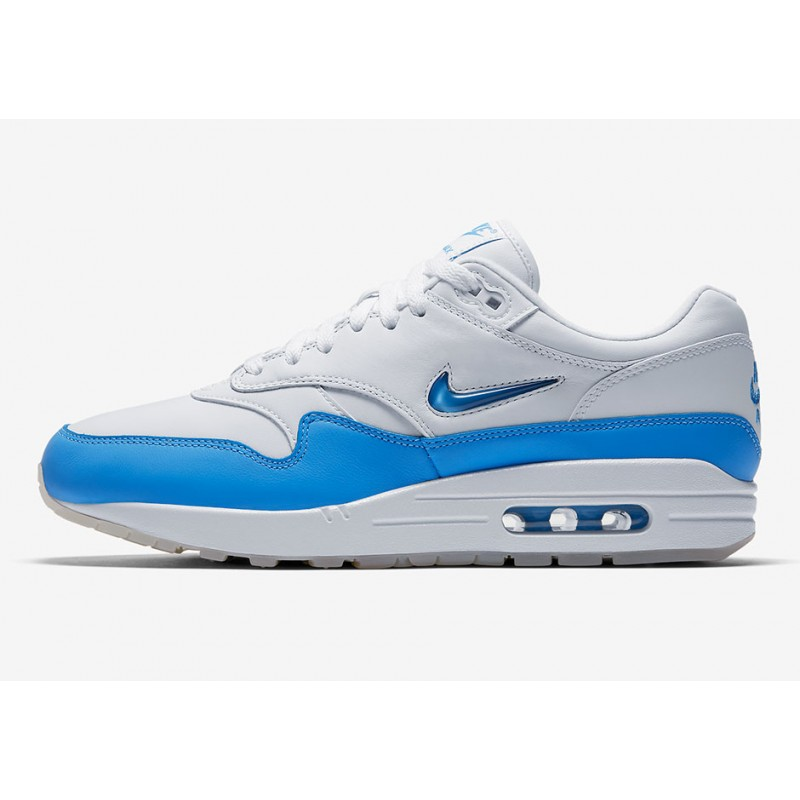 Nike Air Max 1 Premium SC Unisex Low Sneakers 918354-102 White ,Blue